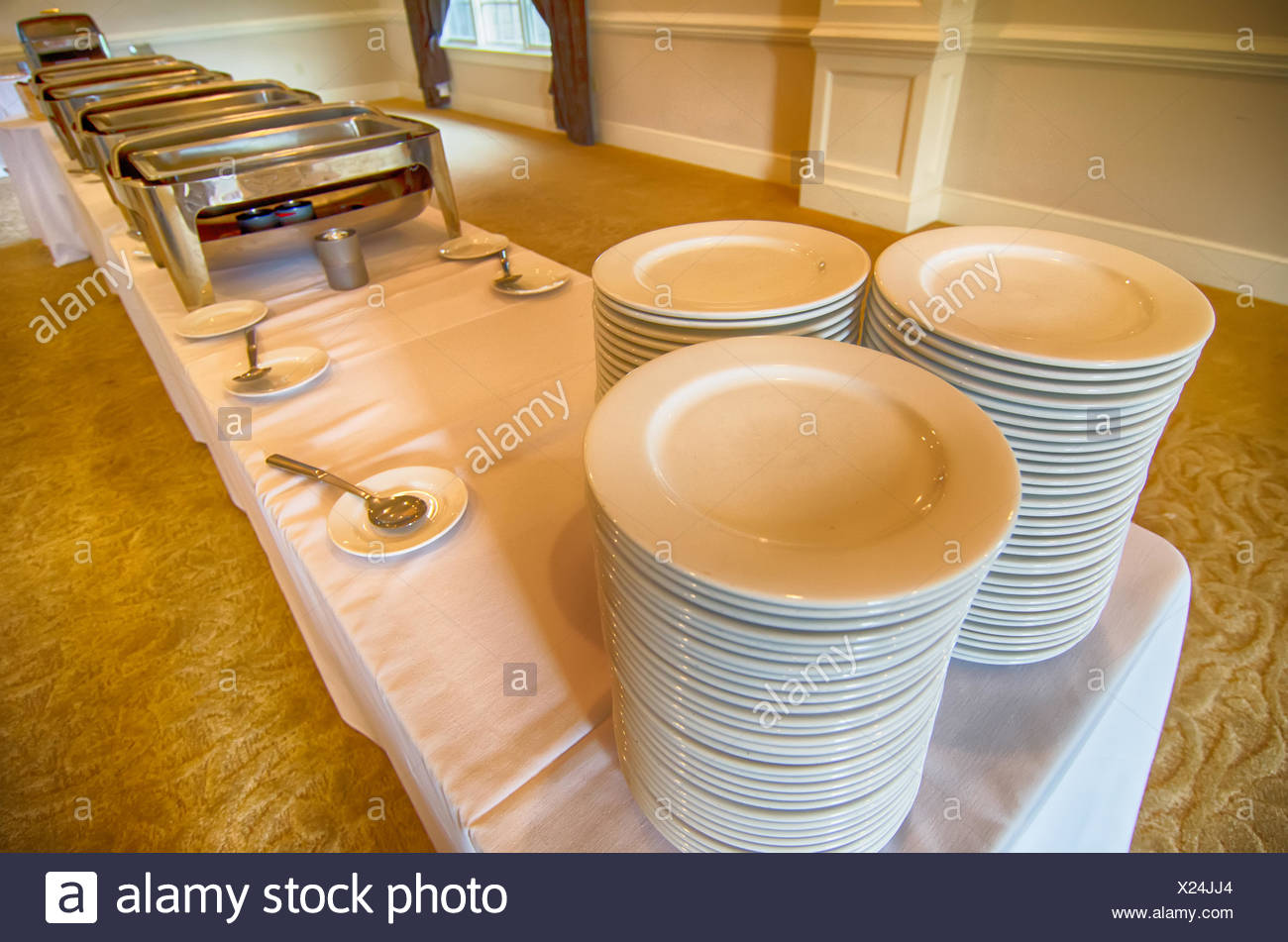 chafing dish and glass plates at buffet stock photo 276697628 alamy rh alamy com clear glass buffet plates