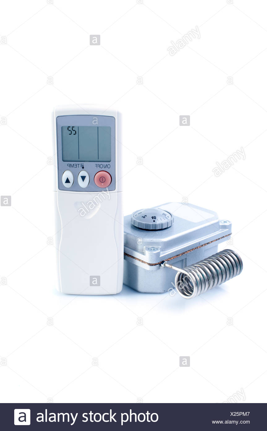 Thermostat And Air Conditioner Remote Control Isolated On White Background