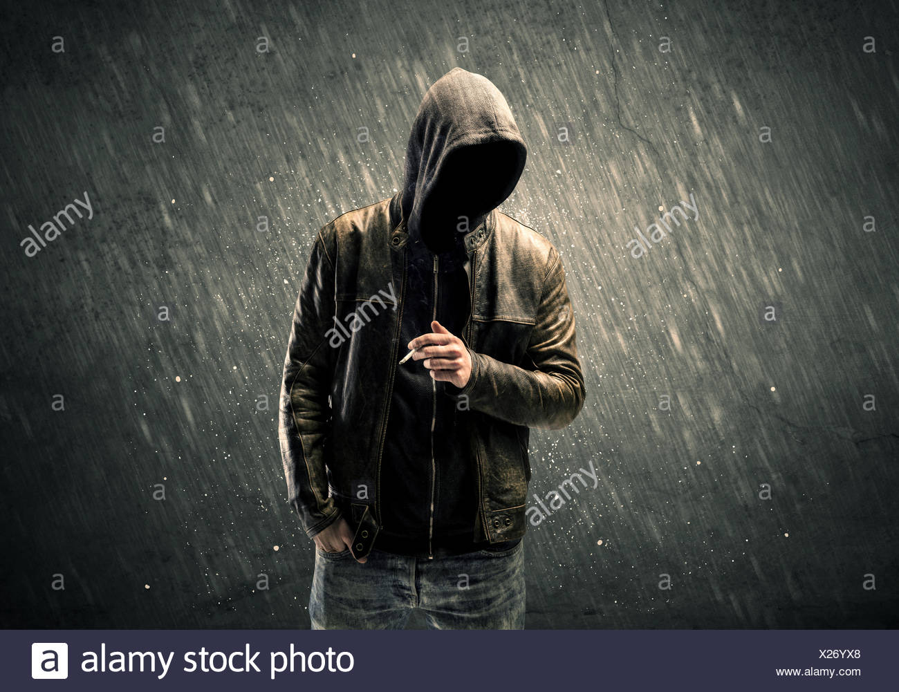 Spooky faceless guy standing in hoodie Stock Photo  276748816 - Alamy 069eb833c