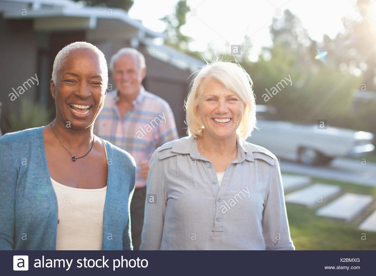 Three mature adults - Stock Image