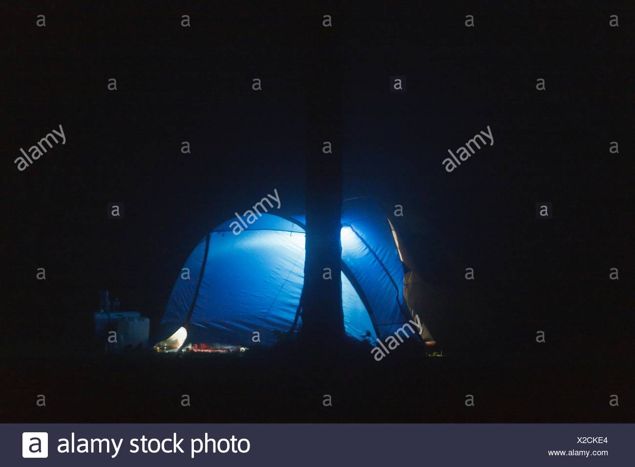 Blue Illuminated Dome Tent On Field At Night - Stock Image