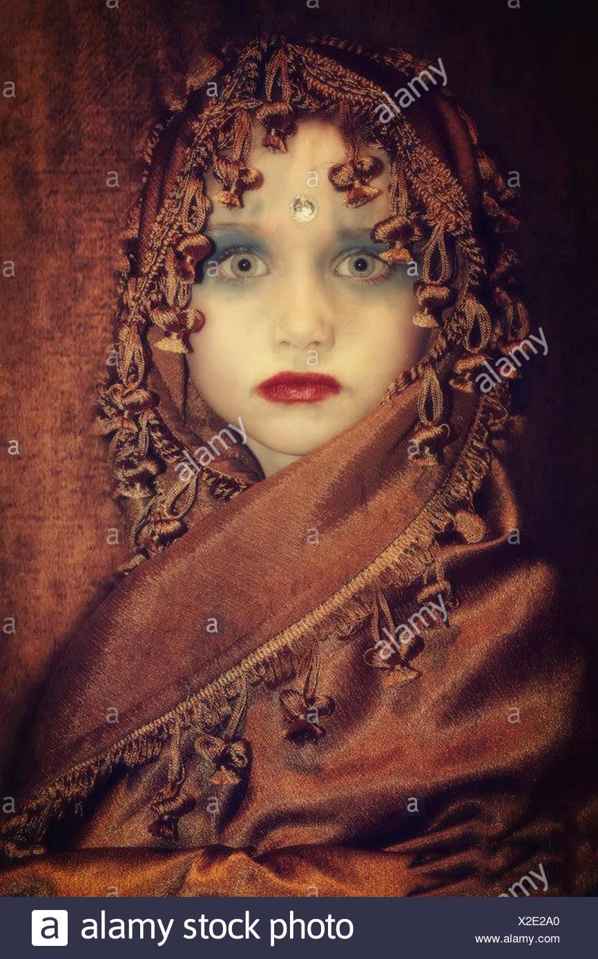 Portrait of girl wearing indian princess costume - Stock Image