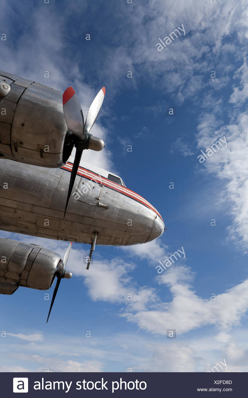 Restored vintage airplane DC-3 - Stock Image