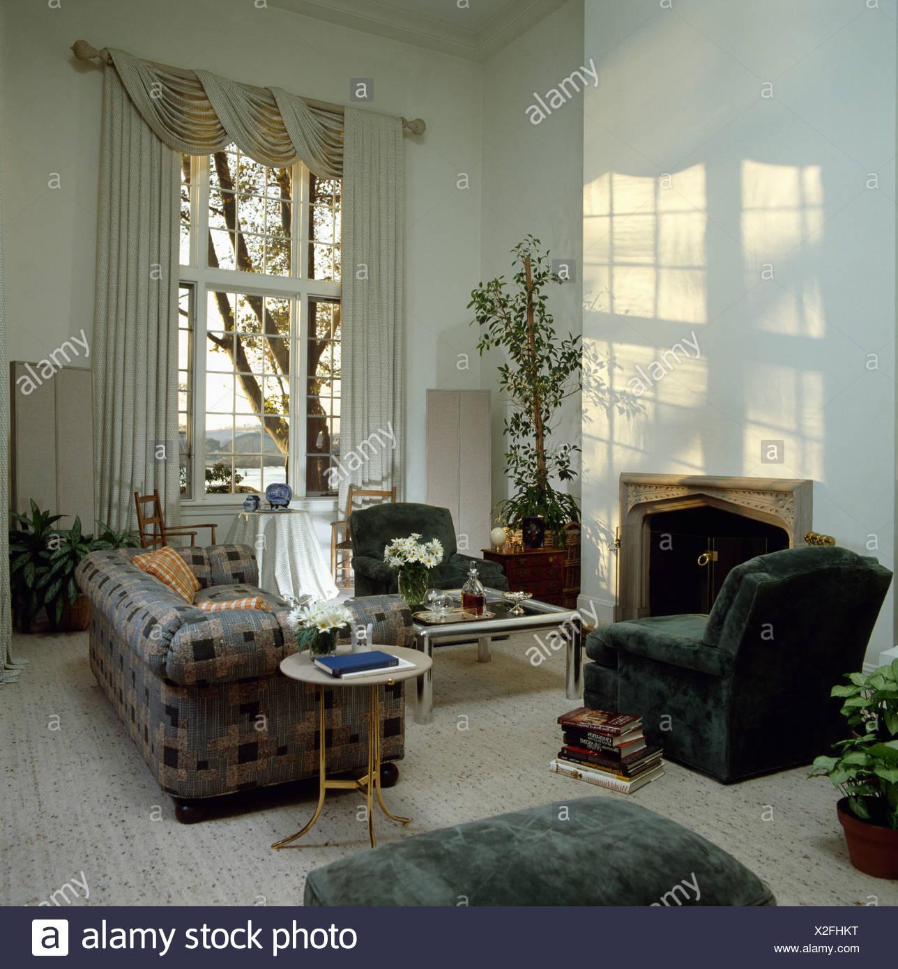 Chesterfield Sofa And Green Velour Armchair In Eighties Livingroom