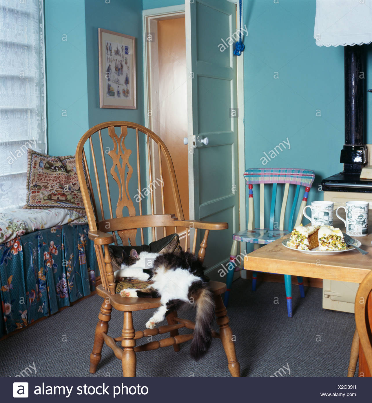 Black+white Cat Lying On Windsor Chair In Small Turquoise Kitchen Dining  Room