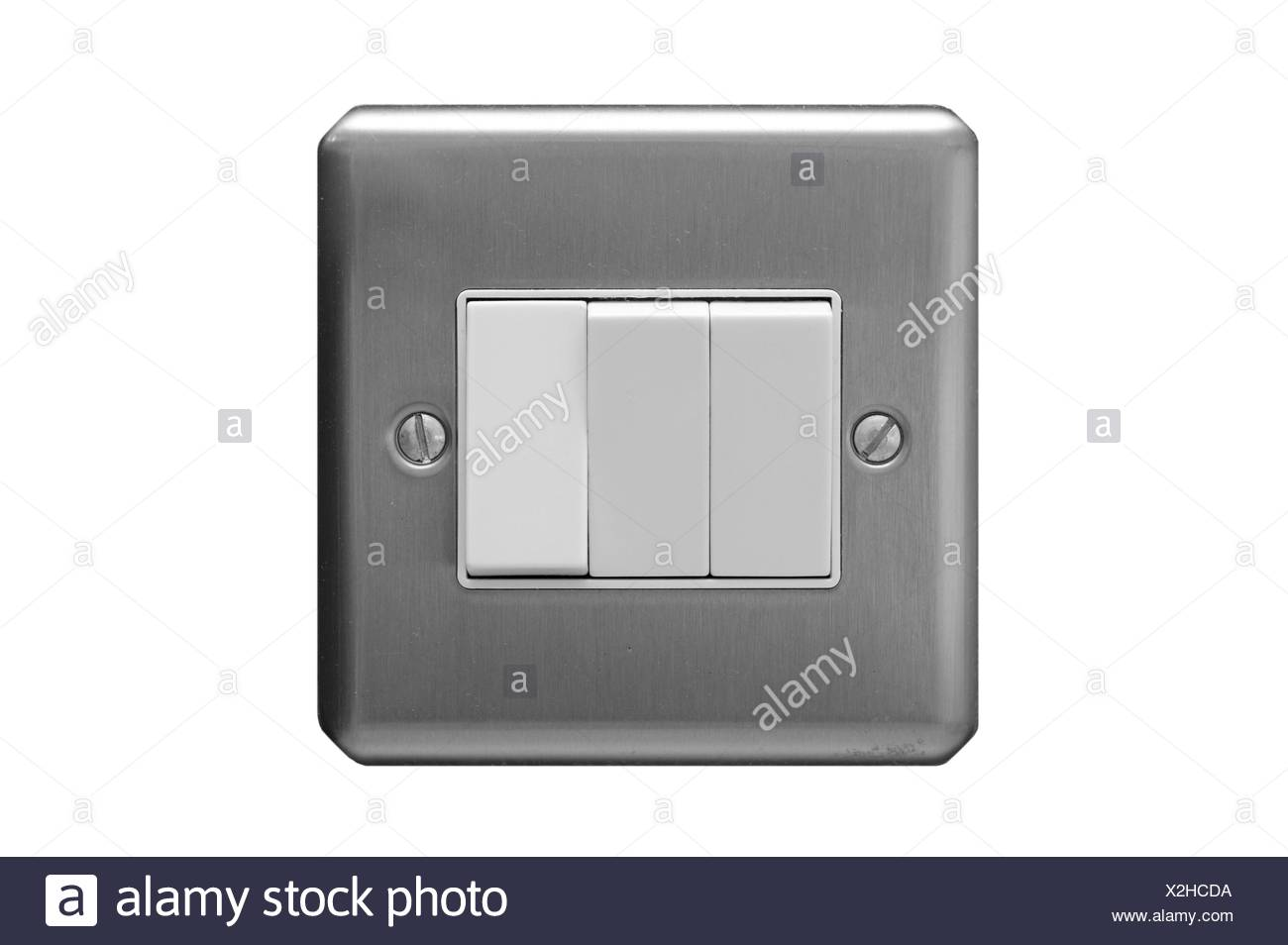 Light switch with three buttons Stock Photo: 276978166 - Alamy