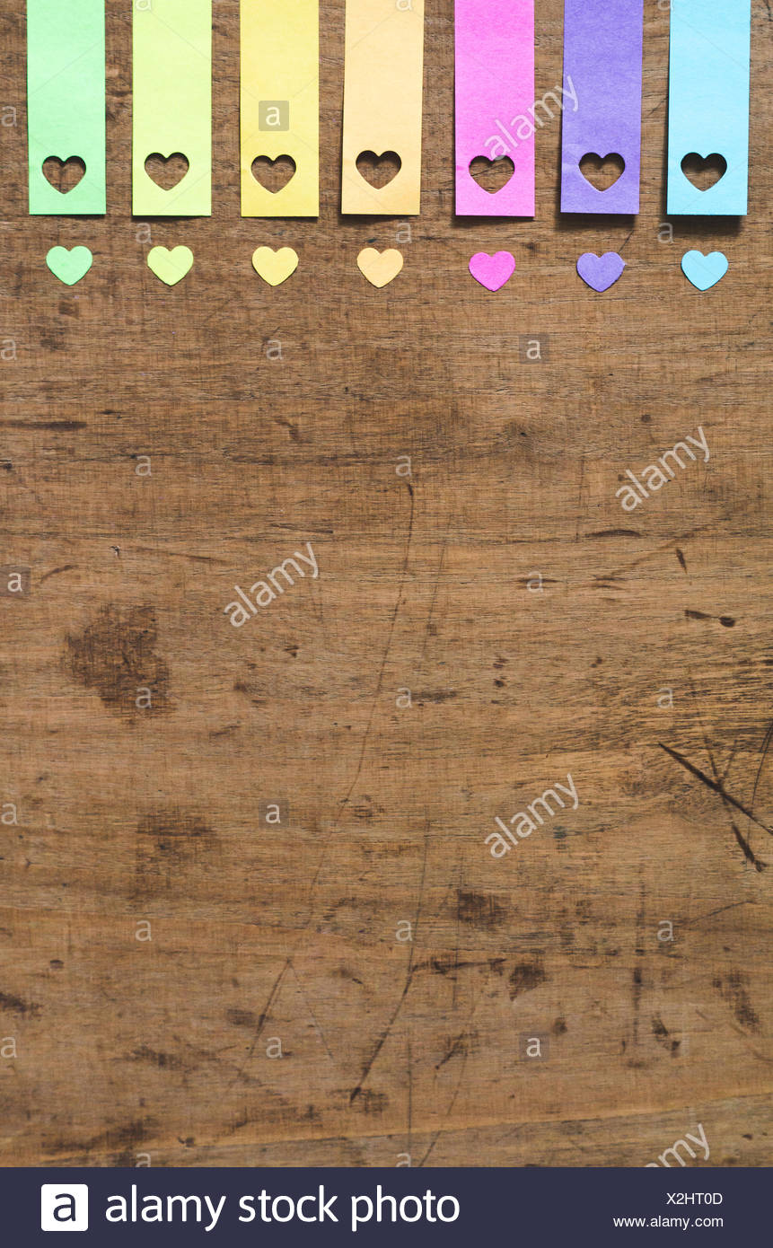 High Angle View Of Colorful Heart Shape Decoration On Table - Stock Image