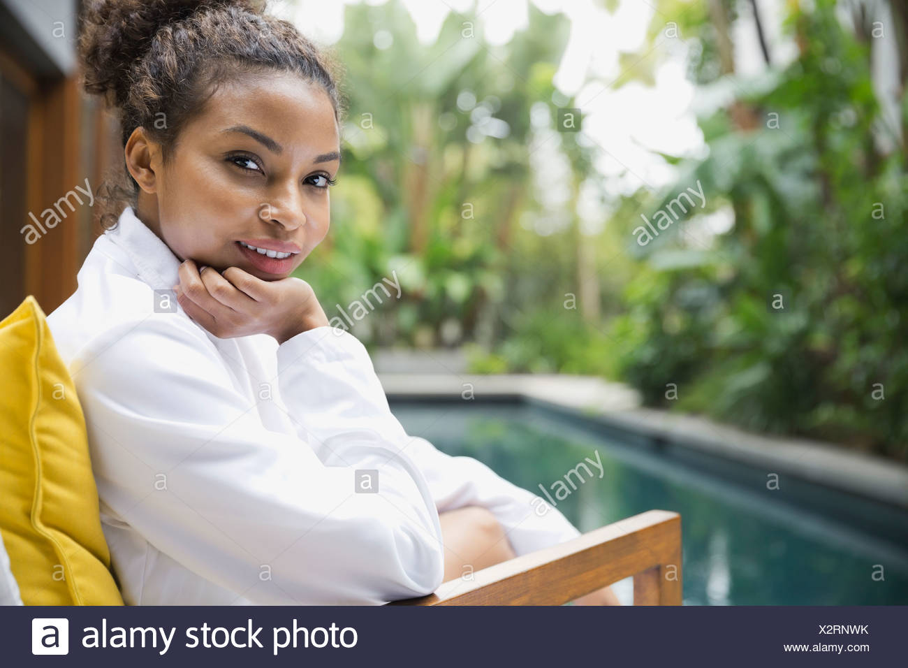 Portrait of woman at day spa - Stock Image