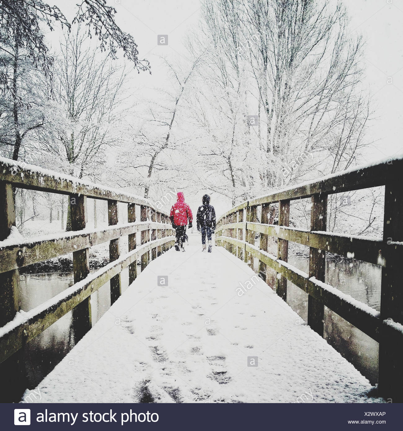 Rear view of two children walking across footbridge - Stock Image