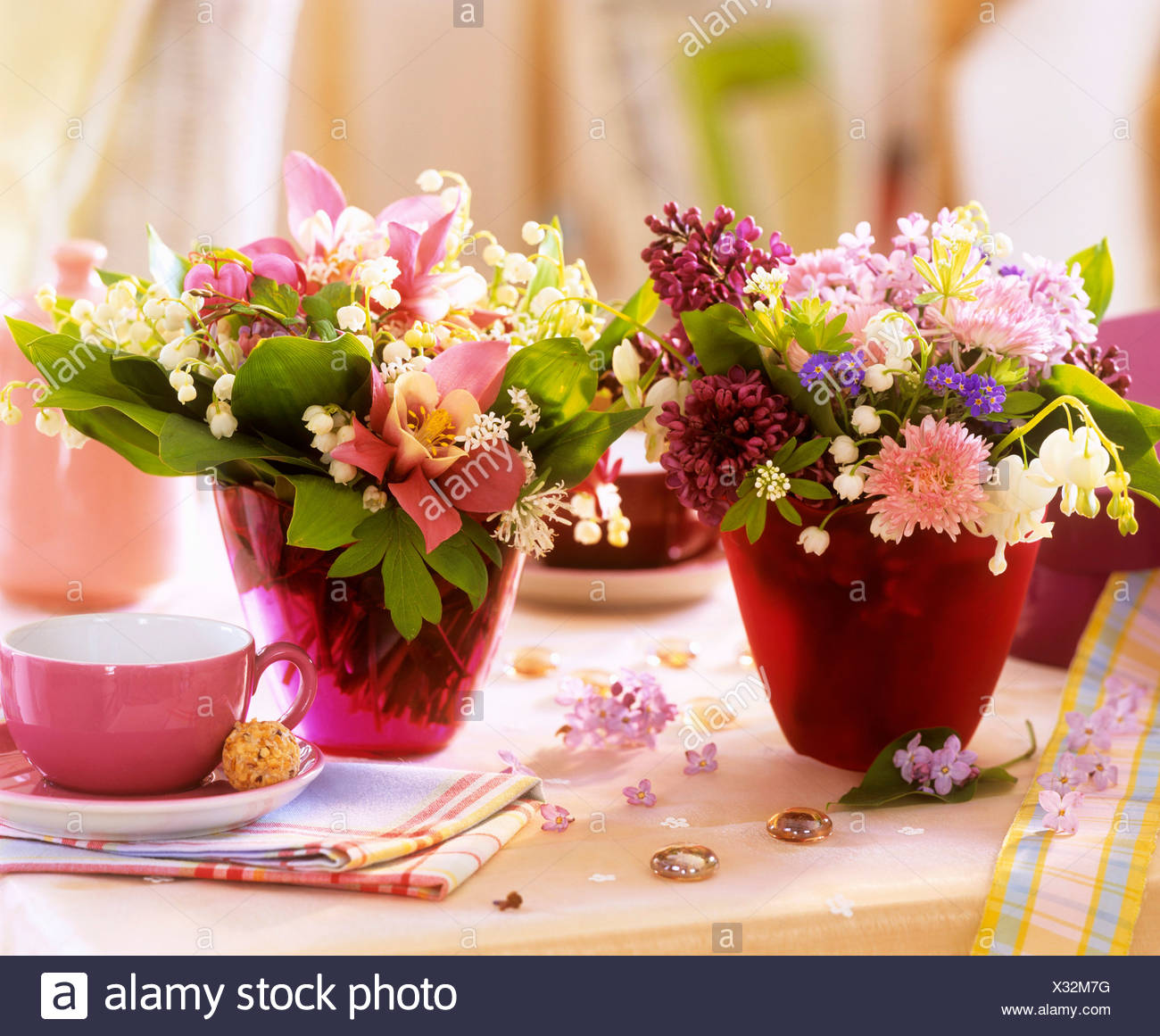 Small posies of spring flowers as table decoration stock photo small posies of spring flowers as table decoration mightylinksfo