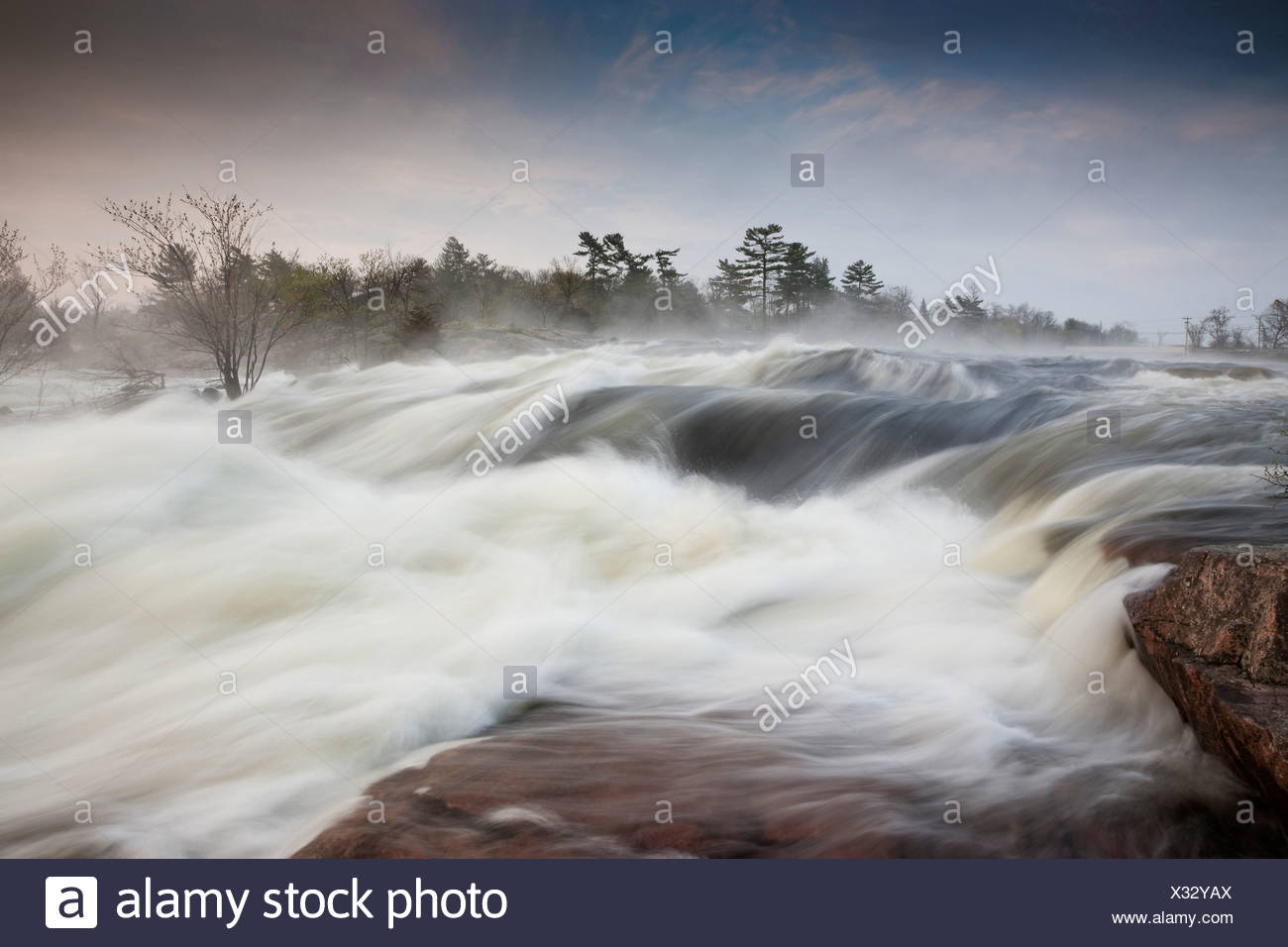 wet spring raised water levels Otonabee River - Stock Image