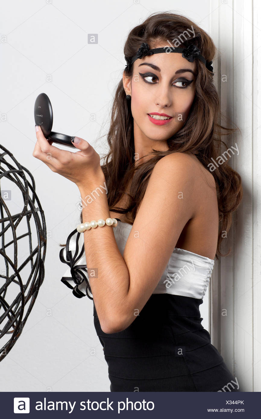 Woman Holding Mirror Intended Young Woman Holding Makeup Powder With Mirror In Her Hand Stock