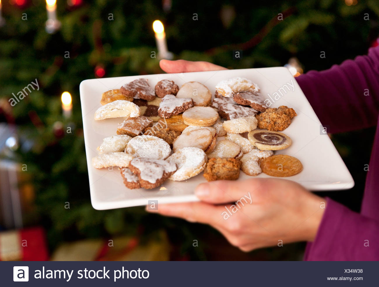 Plate Of Homemade Christmas Biscuits Stock Photo 277317356 Alamy