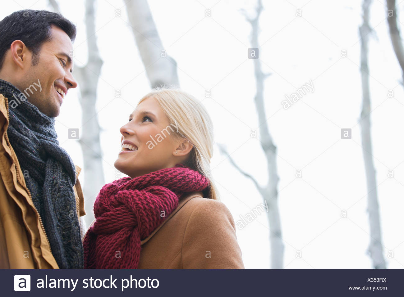 Low angle view of couple looking at each other in park during autumn - Stock Image