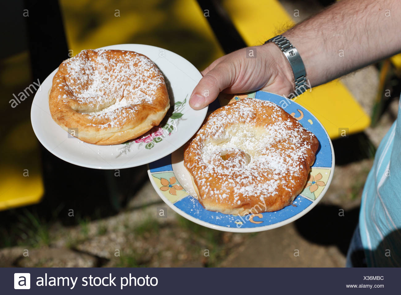 'Auszogne', traditional South German fried doug food in ring-shape with a skin in the middle, Franconian Switzerland - Stock Image