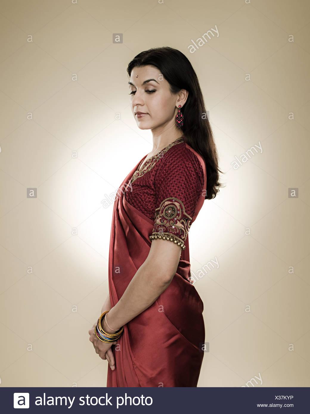 Portrait of a hindu woman - Stock Image