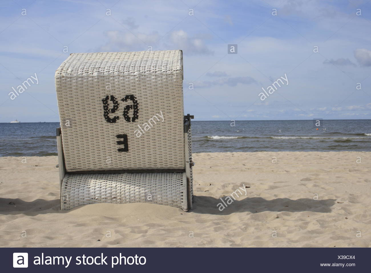beach chair at the beach of Usedom, Baltic Sea - Stock Image