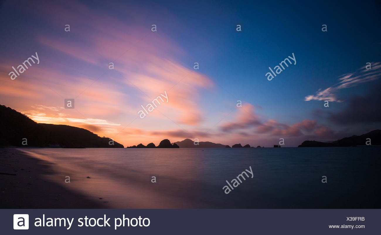Seascape at sunset, Okinawa, Japan - Stock Image