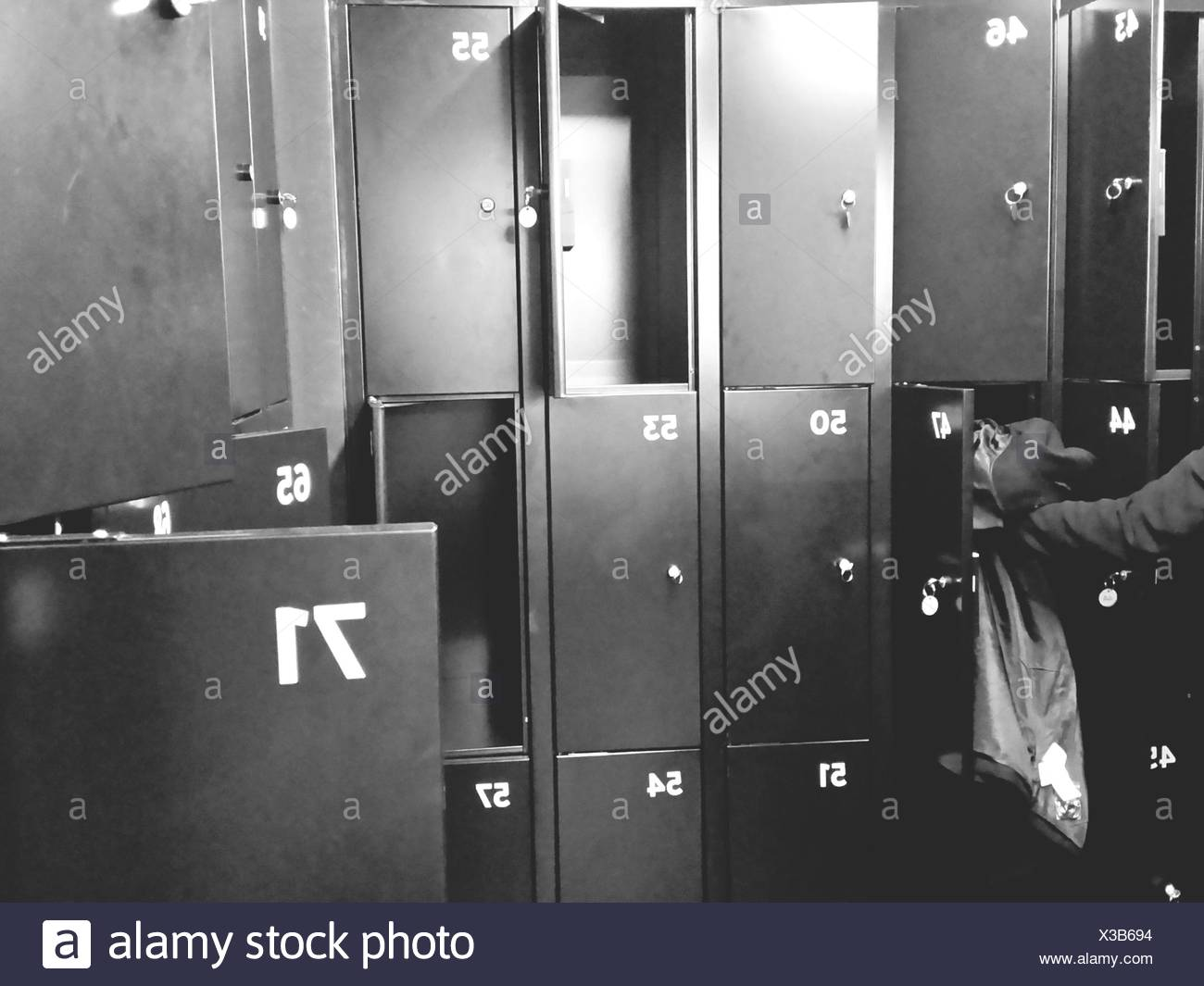 Close-Up Of Open Lockers - Stock Image