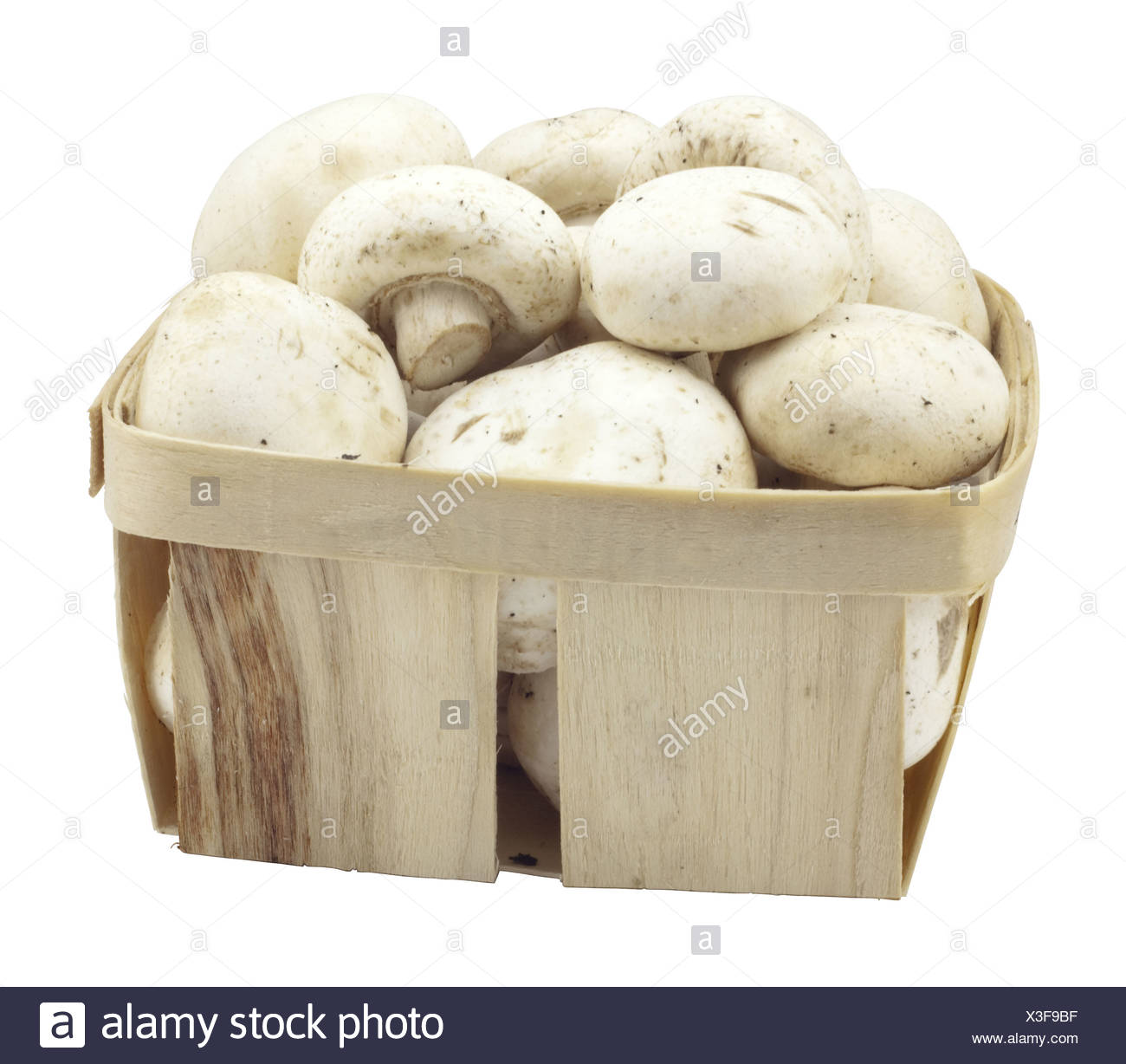 mushrooms in a wooden box - Stock Image
