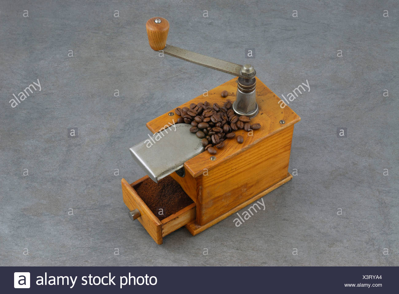 Antique Coffee Mill With Grinding Drawer Full Of Freshly Ground