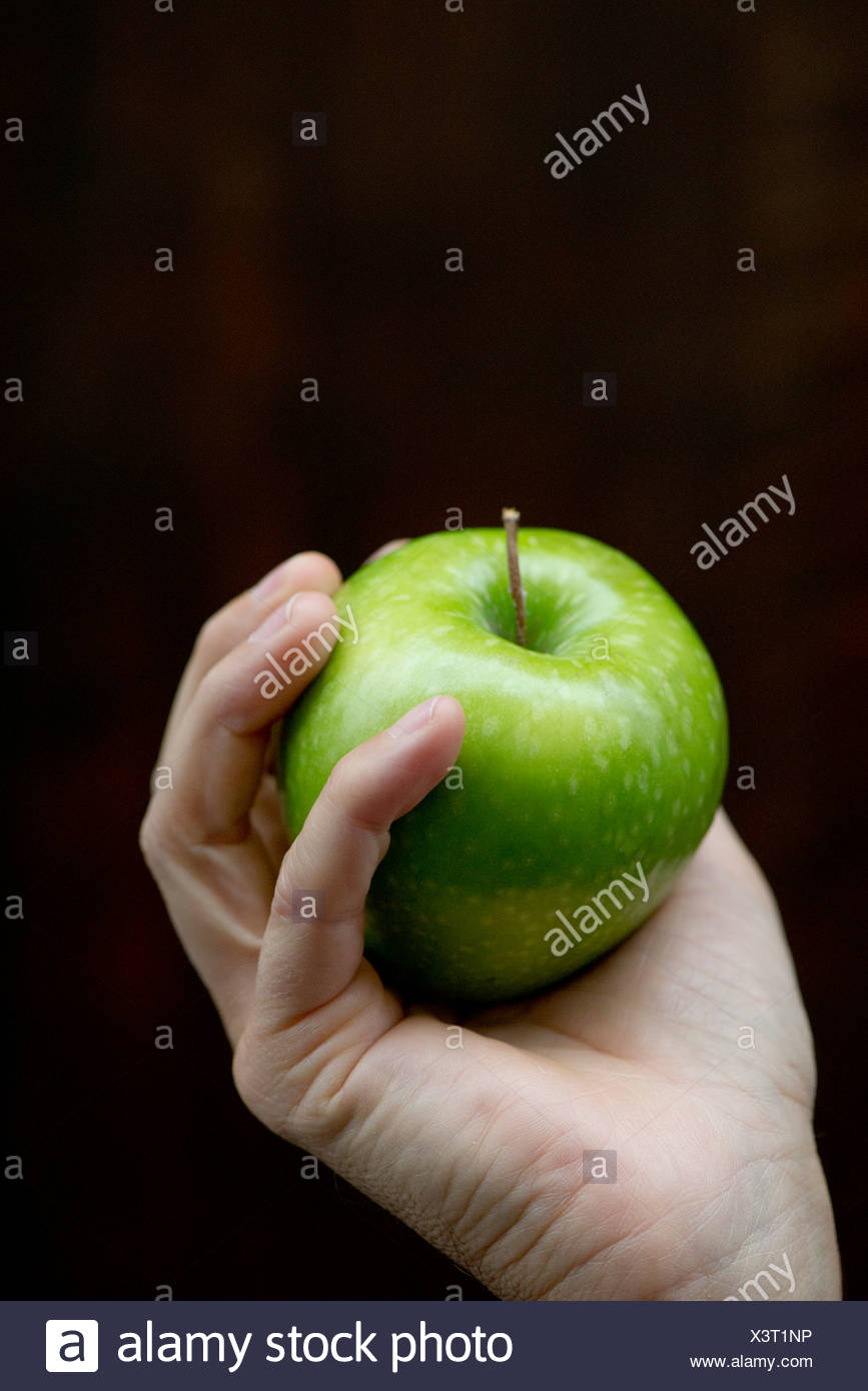 Hand holding apple - Stock Image