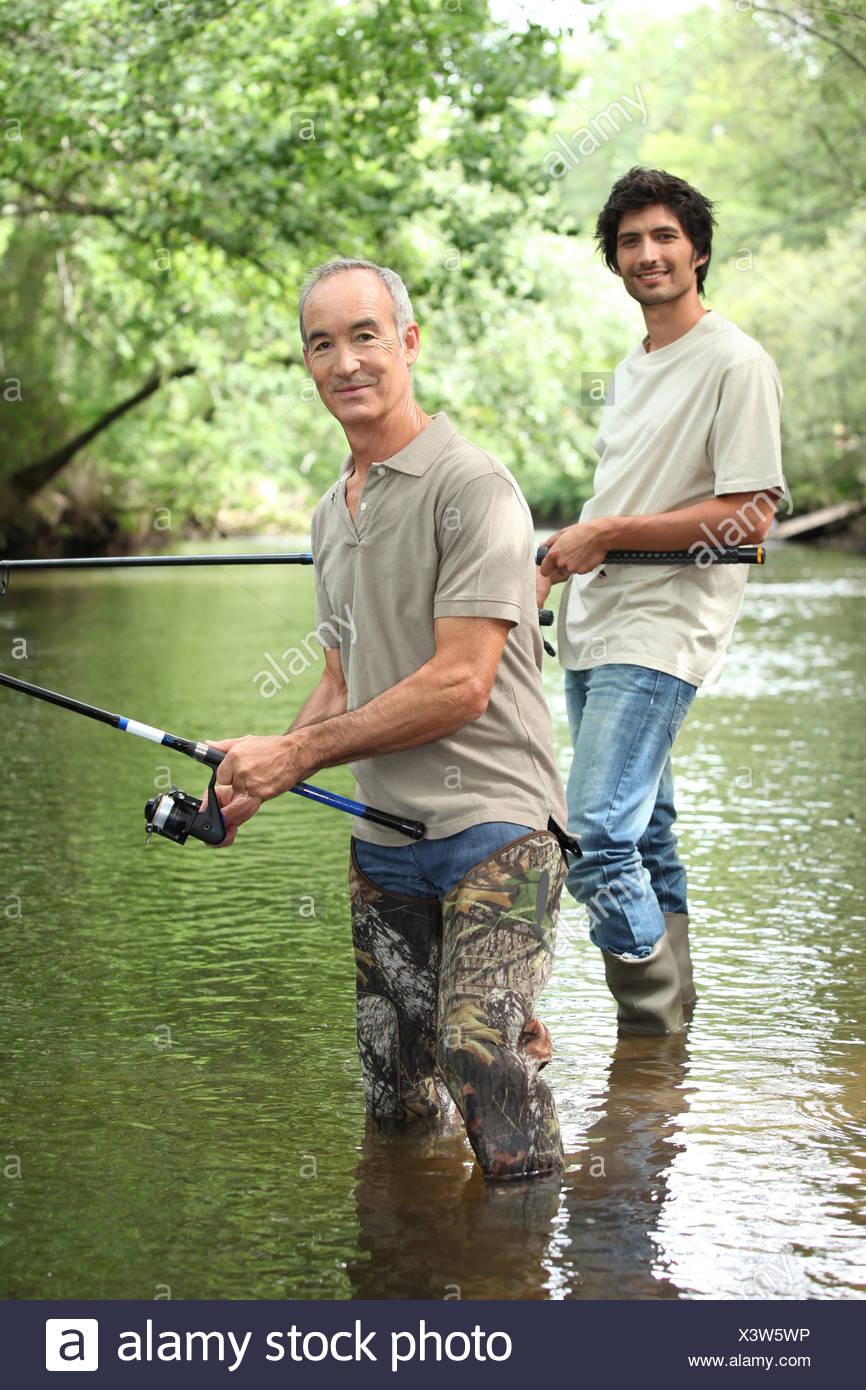 senior and junior angling - Stock Image