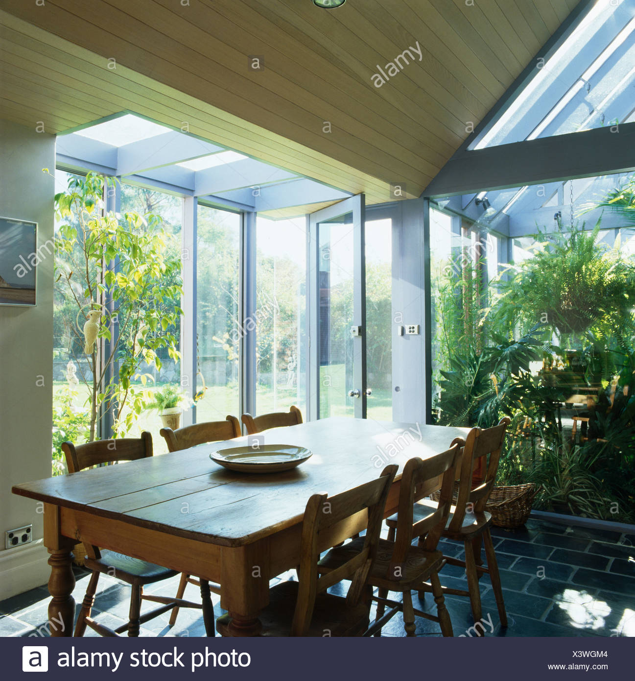 Old Pine Table And Chairs In Modern Dining Room Extension With Glass Doors Tall Houseplants