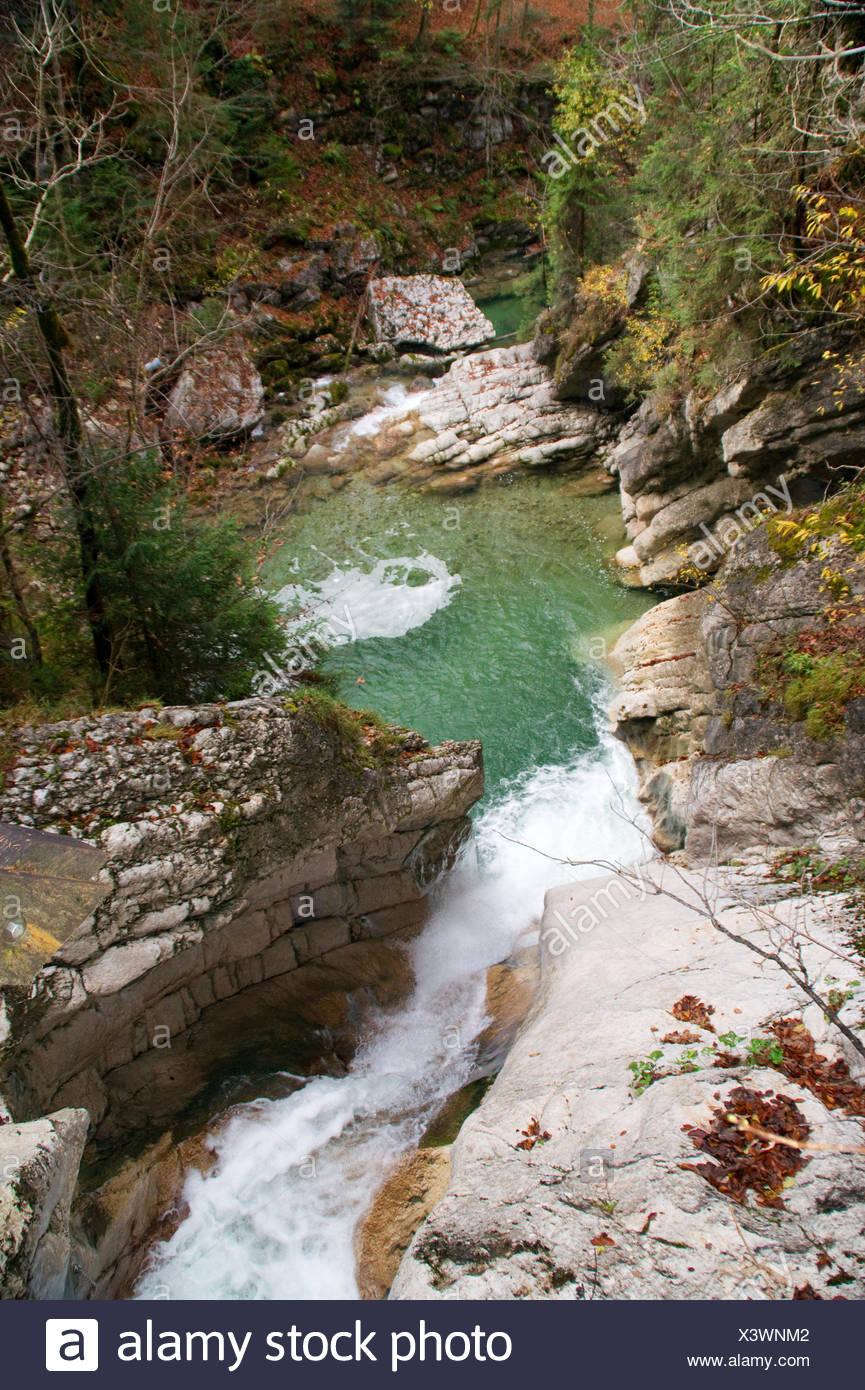 waterfall,catch basin,tatzelwurm,bayrischzell,mountains,rocks,river,spray,autumn - Stock Image
