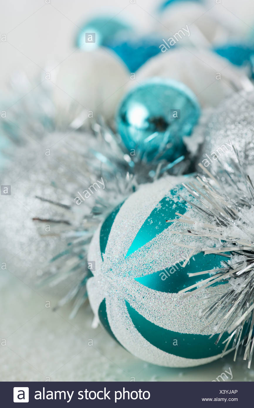 close up of blue and silver christmas ornaments - Teal And Silver Christmas Decorations