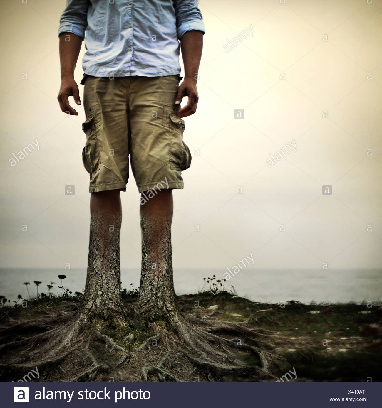 man with tree trunks for legs - Stock Image