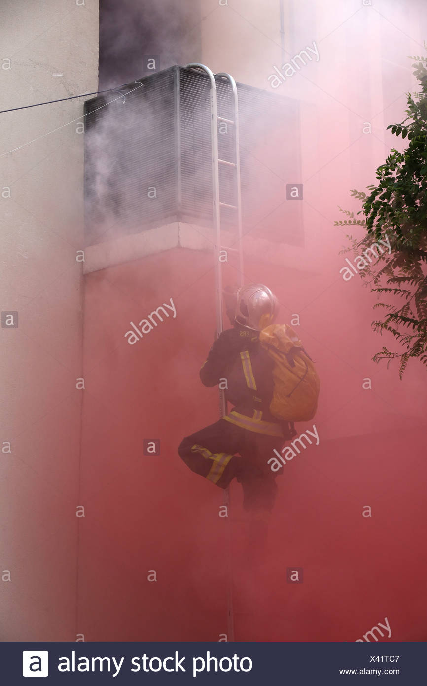 Firefighter exercises and training. - Stock Image