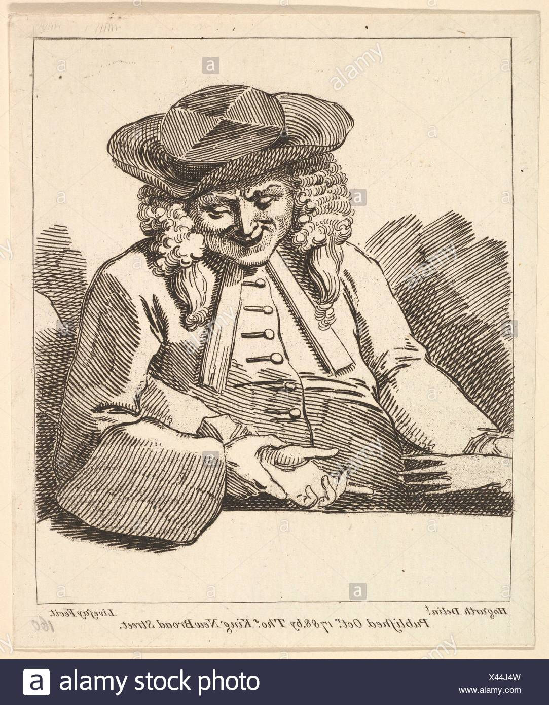 A Parson Joining the Hands of Two People. Etcher: Richard Livesay (British, 1753-1823 Southsea); Artist: After William Hogarth (British, London - Stock Image