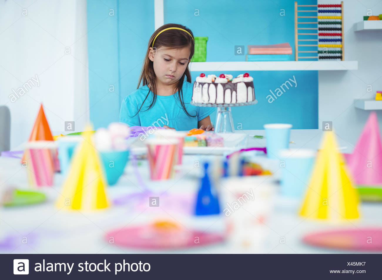 Sad Kid Alone At Her Birthday