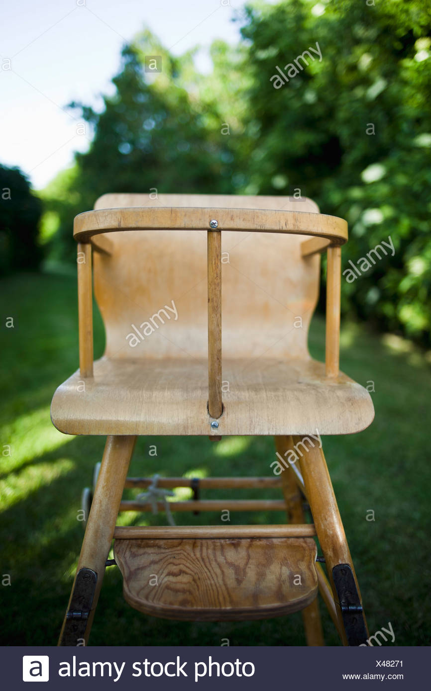 Close-up of an old-fashioned children chair - Stock Image