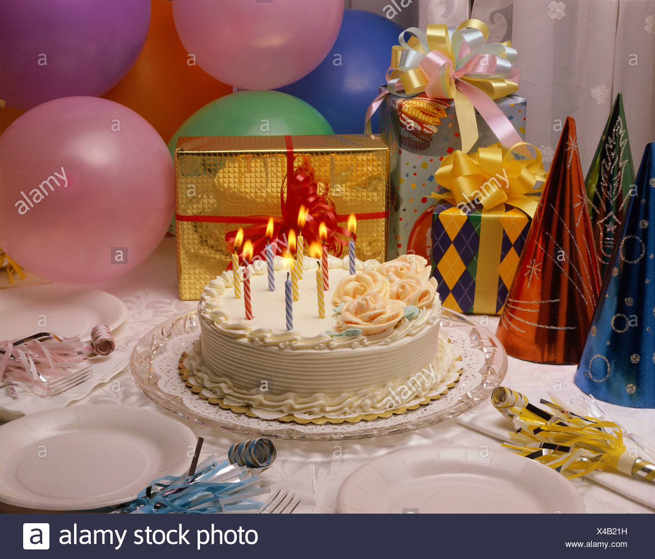 Close Up Of A Birthday Cake And Presents Stock Photo 278067597 Alamy