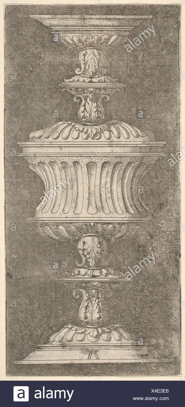 Double Goblet with Flutes and Acanthus-Leaves. Artist: Albrecht Altdorfer (German, Regensburg ca. 1480-1538 Regensburg); Medium: Etching; Dimensions: - Stock Image