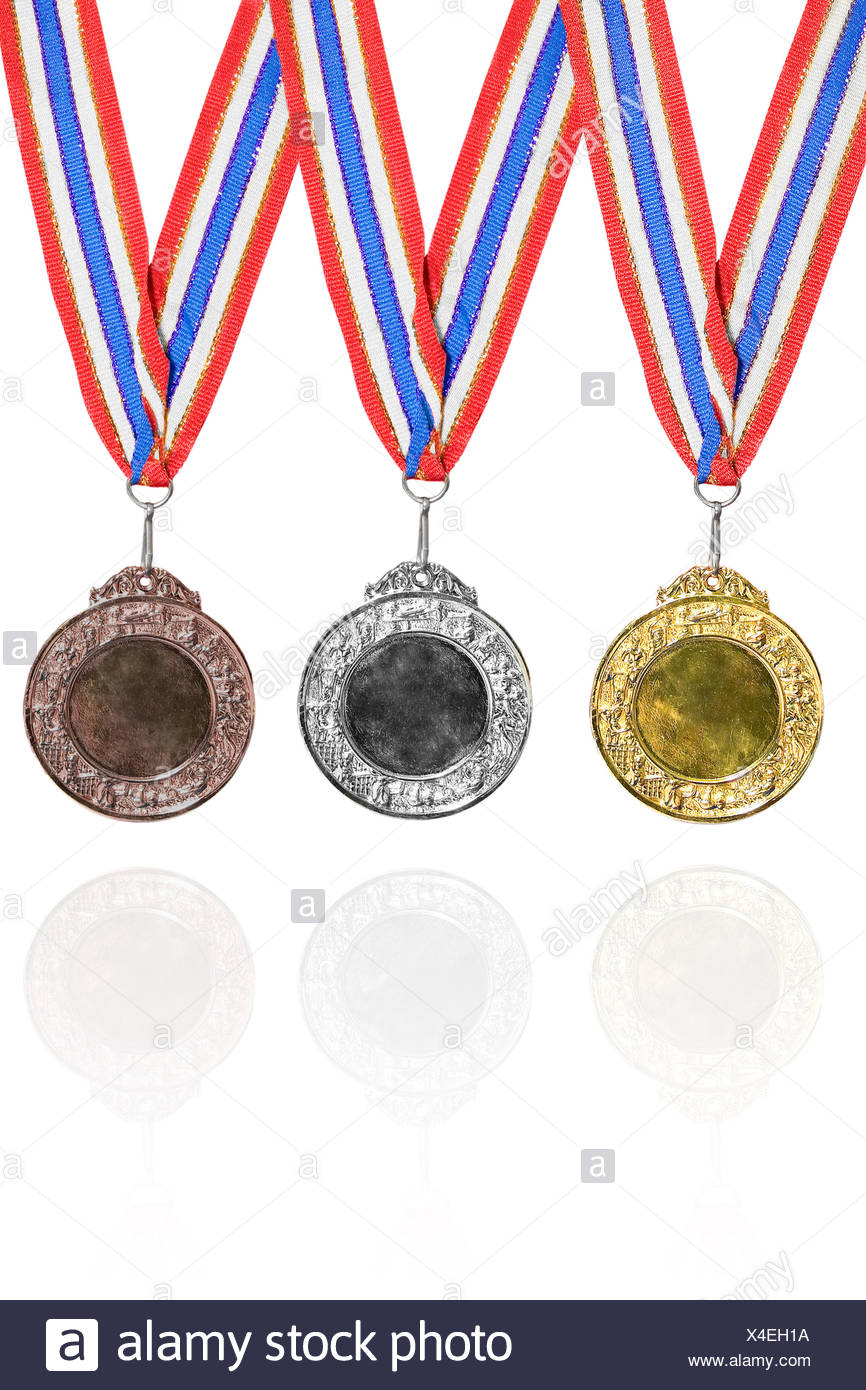 Gold, silver and bronze medals - Stock Image