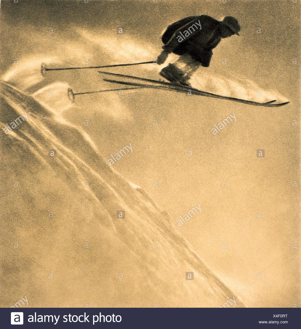 Skier in mid air action stunt in St Anton an Arlberg, Landeck, Tyrol, Austria - Stock Image