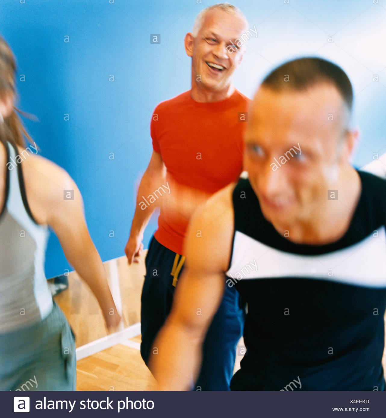 30-34 years 70-74 years 75-79 years activity adults only aerobics athlete bodybuilding color image elderly man exercising - Stock Image