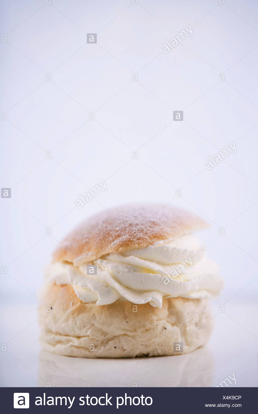 Fresh bun isolated on white background - Stock Image