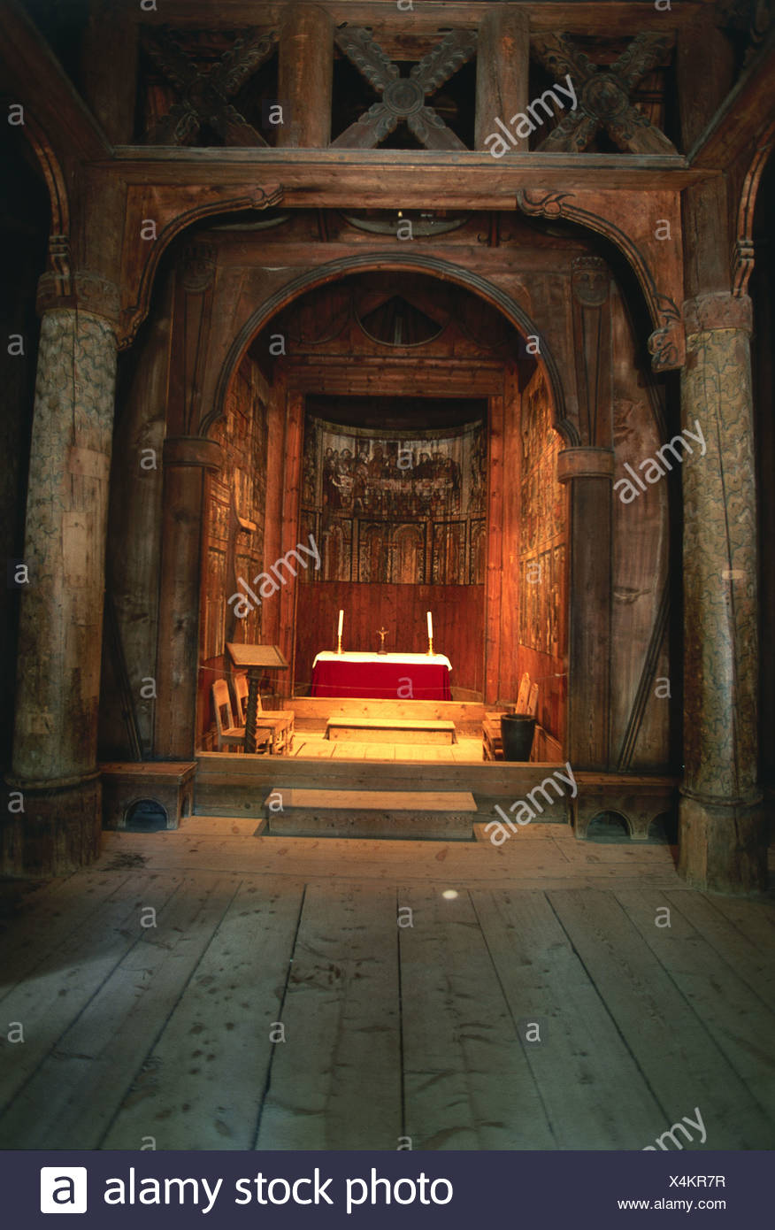 Norway, Bygdoy, Norsk Folkemuseum, Gol stave church, altar inside medieval 13th-century church, built in Hallingdal on 1200 - Stock Image