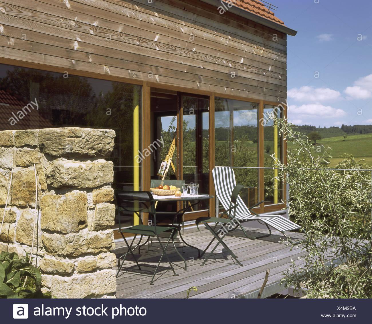 Hill scenery, single-family dwelling, terrace, summer, scenery ...