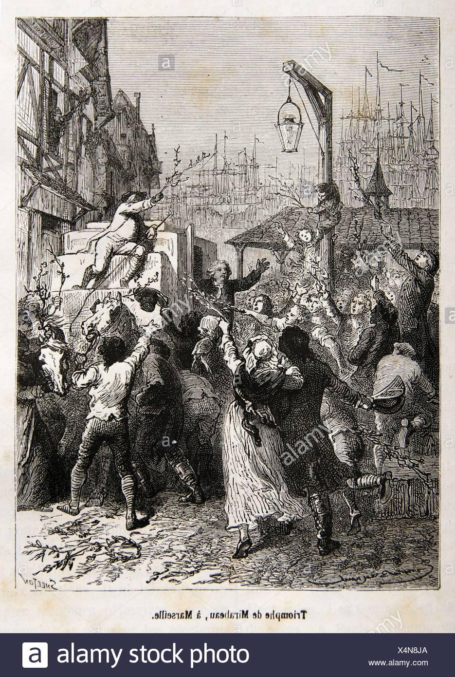 Triumph of Mirabeau, Marseille, France (18th century) - Stock Image