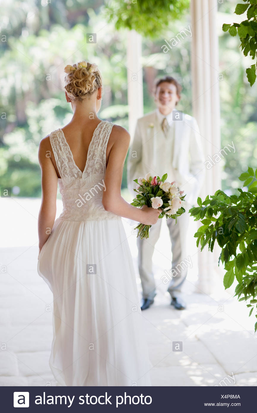 Bride and groom at wedding - Stock Image