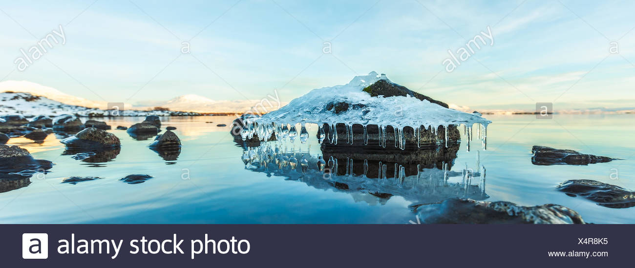 Iceland, Tthingvellir National Park, Beautiful ice formation - Stock Image