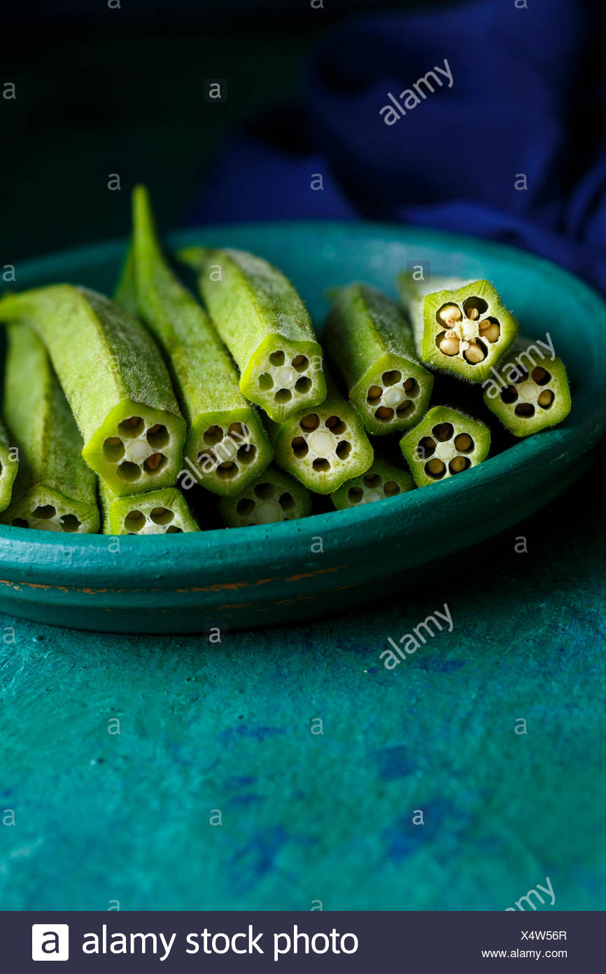 Okra ready to be cut - Stock Image