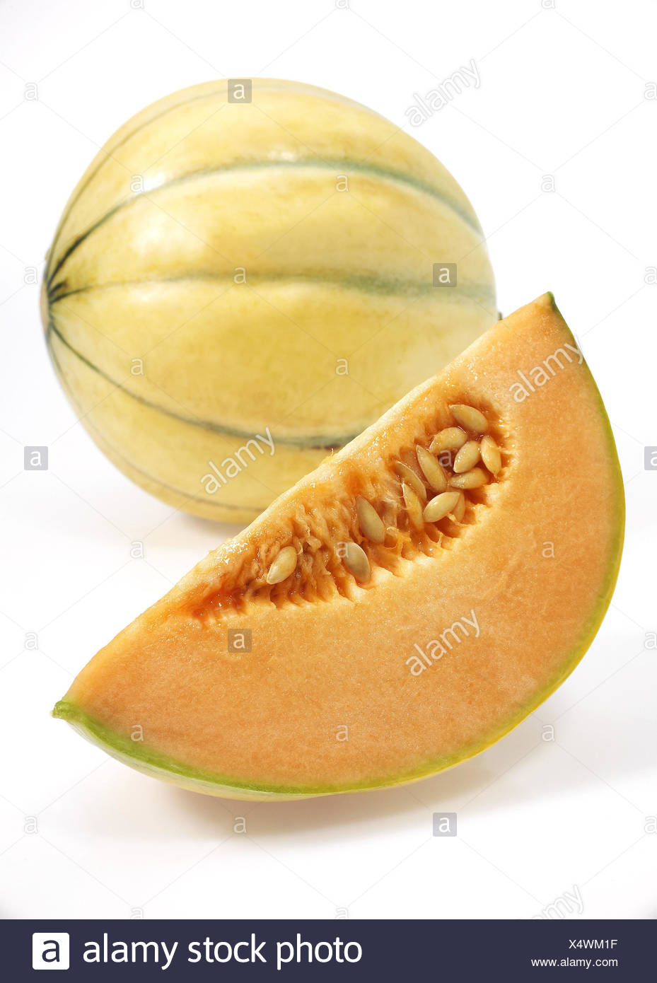 Yellow Canary honeydew melons, also yellow honeydew melon, Amarillo, Tendral Amarillo, sugar melon, Cucumis Melo, white background, - Stock Image