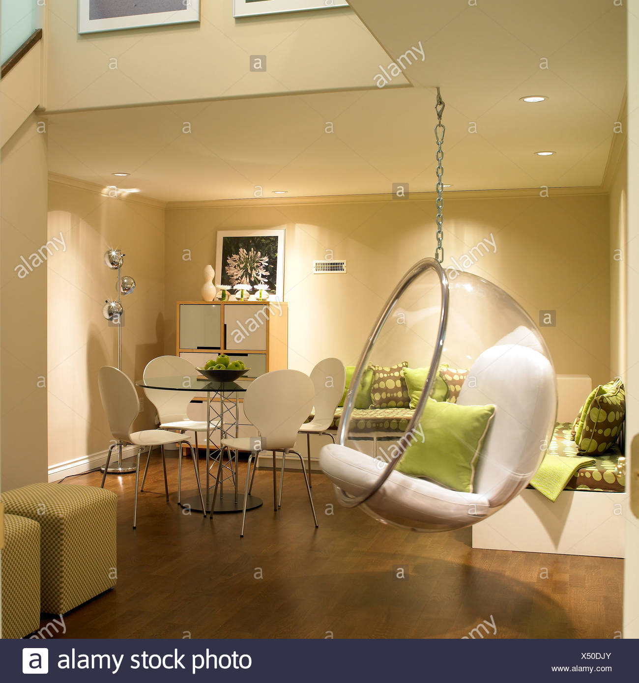 Finished basement with bubble hanging chair and contemporary furniture victoria vancouver island b c canada