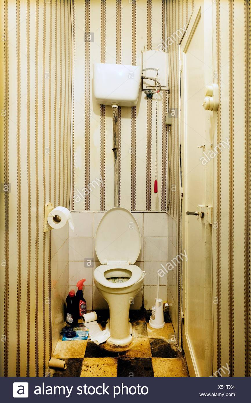 Old vintage toilet and cleaning products Stock Photo: 278480668 - Alamy